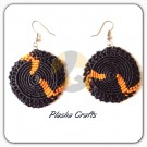 Plasha Crafts Círculo Earrings Black and Orange